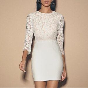 NWT Lulu's Lace Long Sleeve Bodycon White Dress